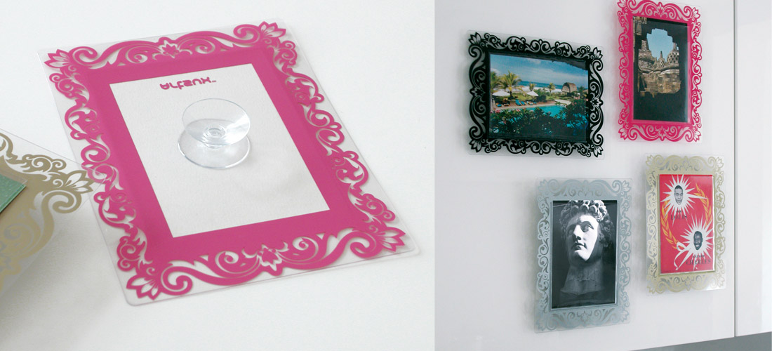 Artsux frames use a suction pad to stick to gloss surfaces