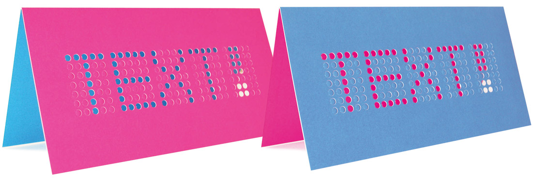 Dot Matrix, push-out text greetings cards by Broadbase