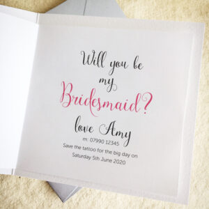 Will you be my Bridesmaid card with fake tattoo