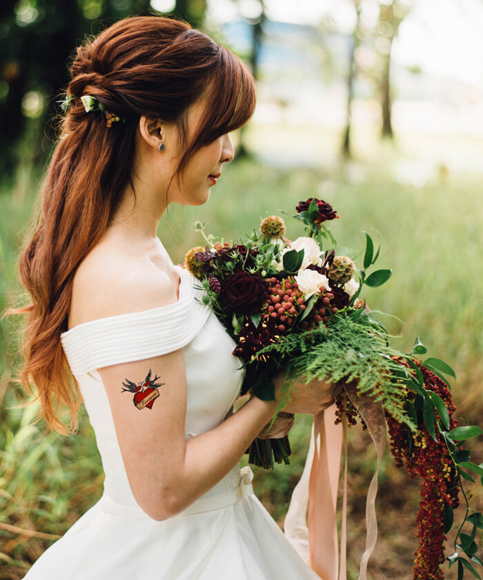Forever temporary tattoo with swallow and heart design