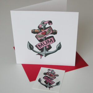 Mum temporary tattoo card