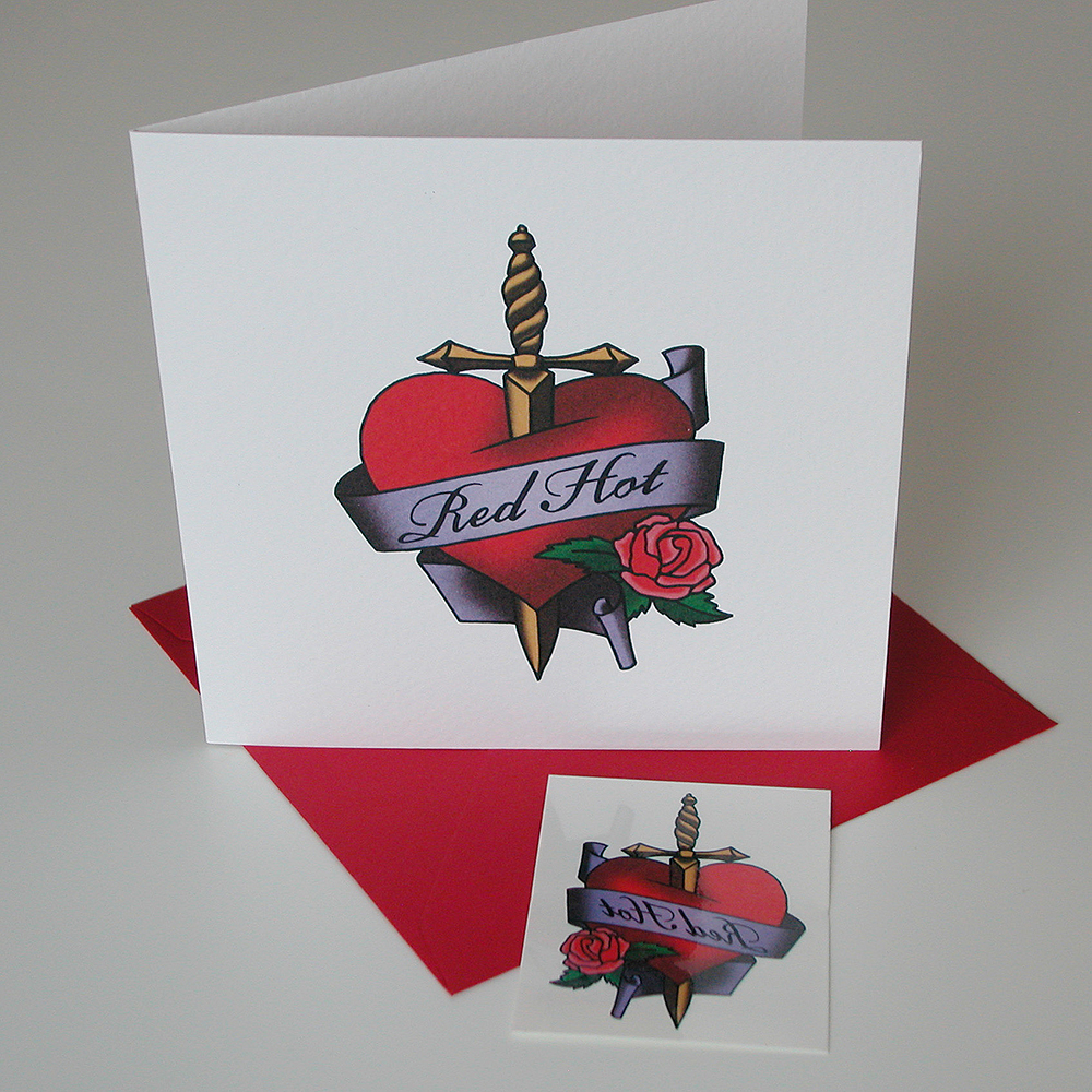 Red Hot fake tattoo card