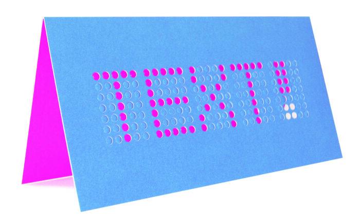 Dot matrix card in blue