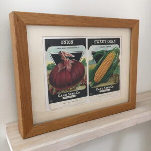 Framed vintage seed packets