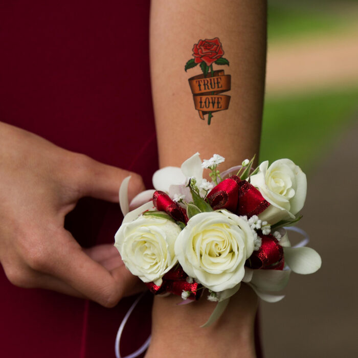 True Love rose temporary tattoo