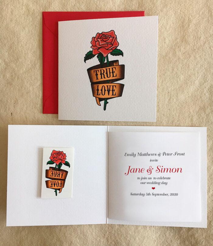 True Love rose tattoo wedding invitation