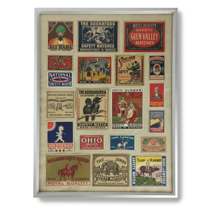 Framed vintage matchbox labels