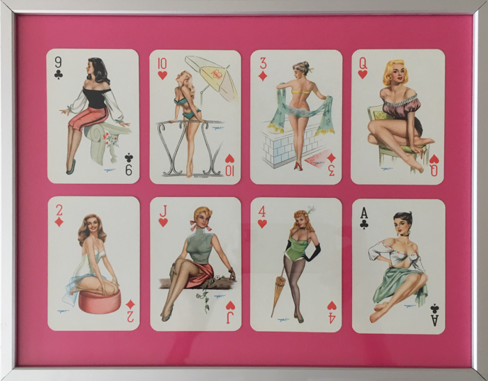 Heinz Villager pin-up girls, 1950s playing cards - framed