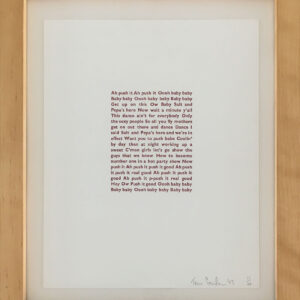 Push it lyrics letterpress print in frame