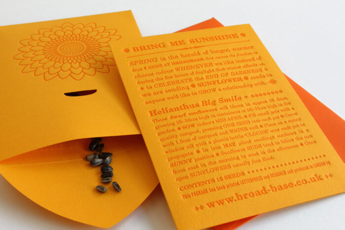 Letterpress seed packet with sunflower seeds