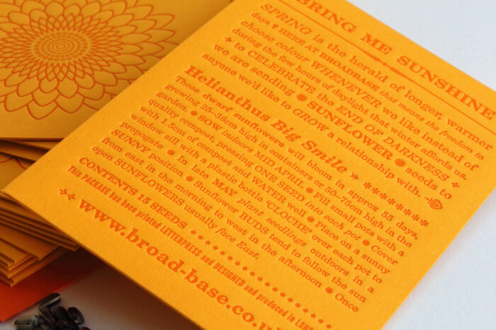Letterpress seed packet with sunflower seeds - typographic detail