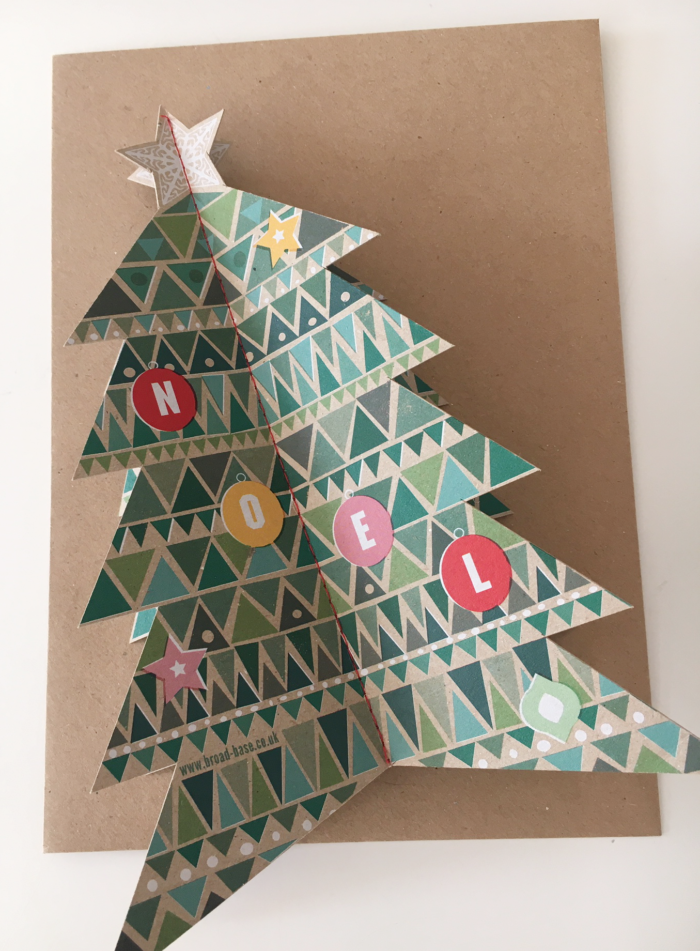 Pop-up christmas tree card with envelope