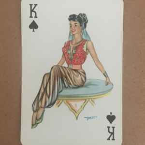 Pin up girl king of spades vintage greeting card